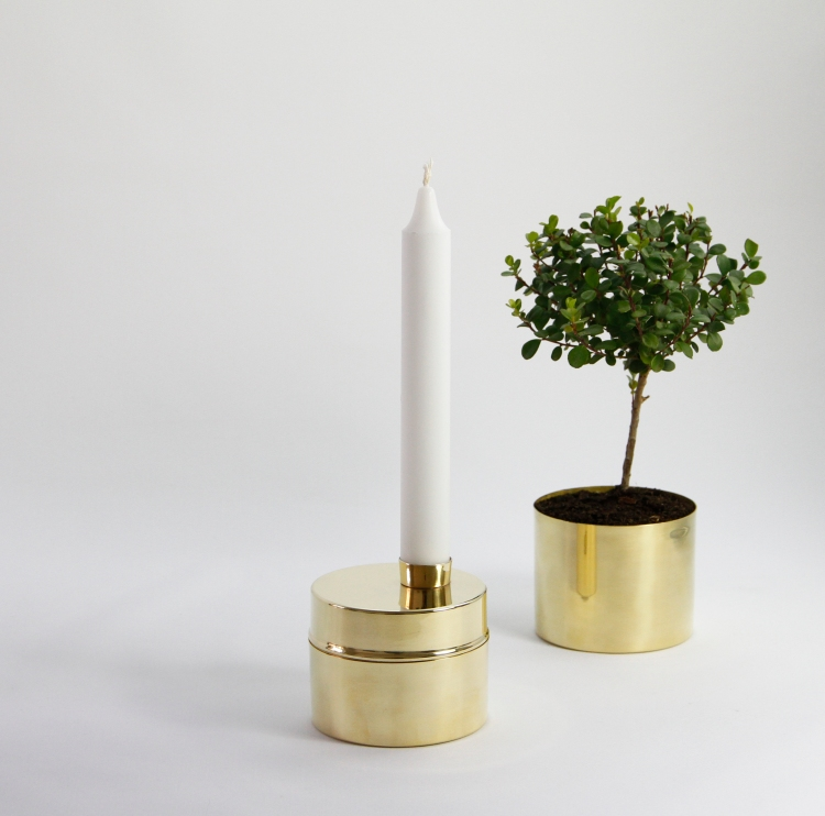 Candle Jar, natural treated brass and copper by Eva Lilja Löwenhielm and Anya Sebton for Svallings.