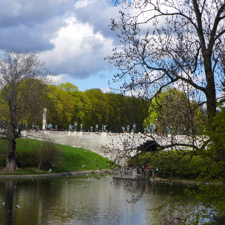 Frogner Park. The bridge in the centre of the park leads to Vigeland's sculpture installations.