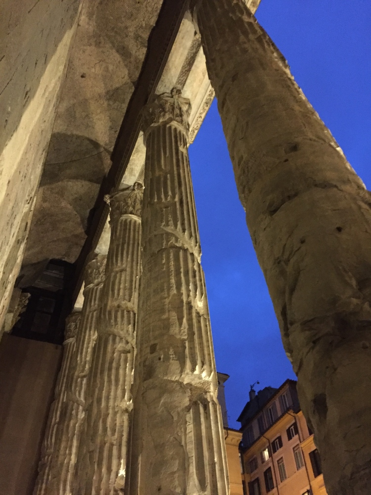 The temple of Hadrian built in 144 A.D in the Piazza di Pietra.