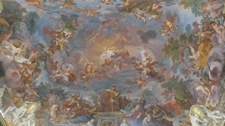Painted murals on the ceiling of Galleria Borghese in Rome.