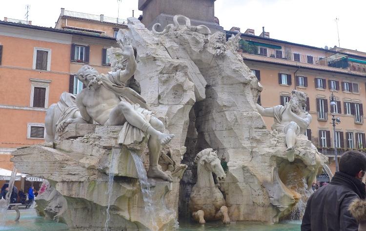 Bernini's fountain at Piazza Navona, Rome.