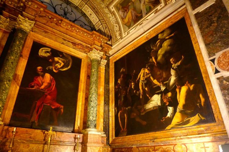 Caravaggio paintings in San Luigi dei Francesi, built between 1518 and 1580.