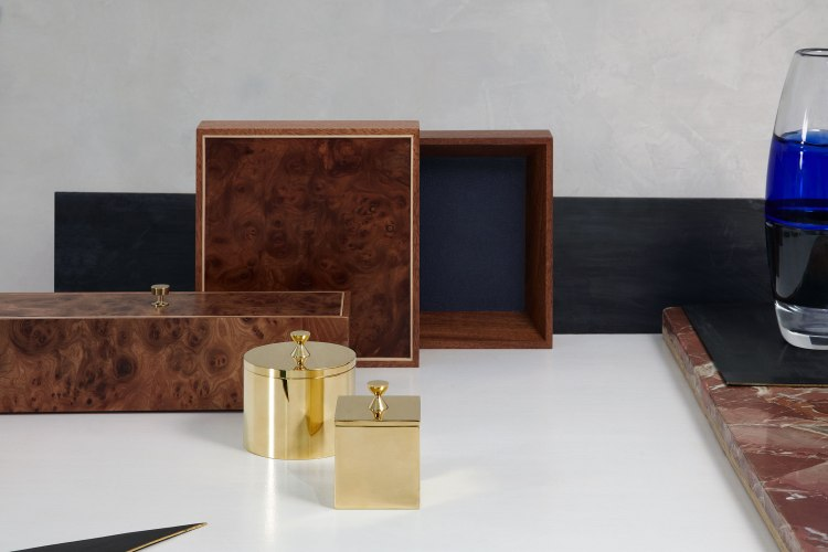 LaMiel Collections. Boxes made from elm root veneer on mahogany with birch detail and navy leather interior.