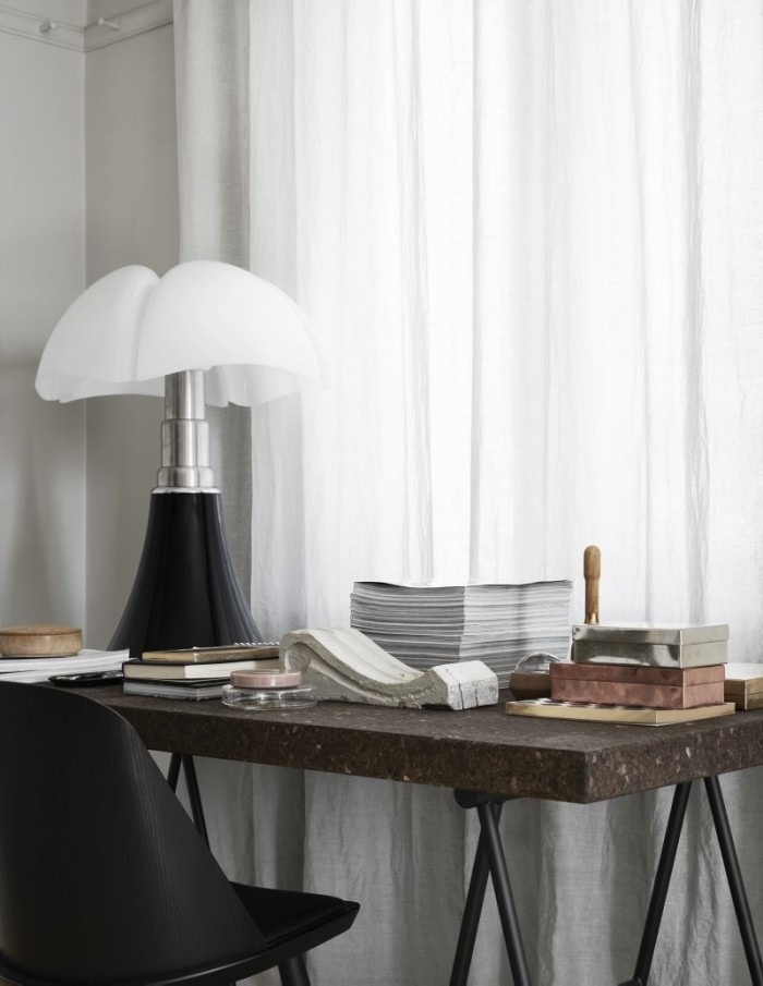 Table by Ilse Crawford for Ikea, and my favourite lamp from Martinelli Luce.