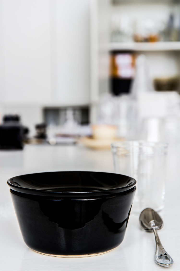 "Ingegerd Råman. ""My own kit"". Bowl with lid, stoneware, 2016. Glass from the series Bellman for Skruf 1981, dessertspoon from the series Indra for Gense 2005."