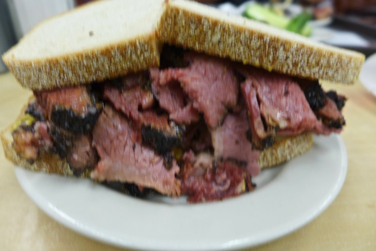 The pastrami sandwich so enormous that even my camera blurred!